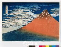 Hokusai, Katsushika (1760-1849) Fuji in rust-brown against deep blue sky filled with white clouds, from '36 Views of Mt. Fuji,' c. 1823