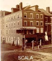 McClees, James Earle (1821-1887) Jefferson's House, Philadelphia. 1885. In this house on the southwest corner of Seventh and Market Streets Thomas Jefferson composed the Declaration of Independence. Coated salted paper print, 23.2 x 19.1 cm (9 1/8 x 7 1/2 in.).