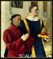 Fouquet, Jean (c. 1420-c. 1477) Melun diptych (now divided), c. 1454-56: Etienne Chevalier and Saint Stephen. Left wing
