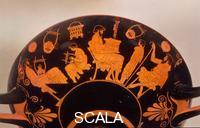 Douris (6th-5th cent. B.C.) School scene: teaching of the lyre play (left); instruction in speech. Side B of a red-figured drinking cup (kylix), from Cerveteri, 480 BCE.