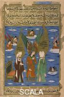 ******** The Prophets Moses and Mohammed Conversing the the Archangel Gabriel. Single leaf manuscript illumination. 16th CE. Turkey.