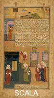Islamic art The prophet Mohammed and Ali removing the idols from the Ka'aba in Mecca, from the book 'Raudat as-Safa' ('Garden of Purity'), by Mir Havand, c. 1590