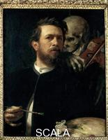 Boecklin, Arnold (1827-1901) Self-Portrait with Death Playing the Fiddle, 1872