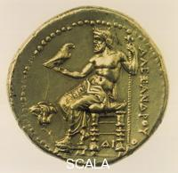 ******** Zeus sitting on a diphros (chair) with eagle in his right, the left holding a sceptre. Greek gold coin.
