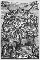 ******** The island of Utopia. Illustration from a contemporary edition of 'Utopia' by Thomas More (1477-1535). Photo: Dietmar Katz.