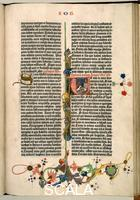 ******** Page from the Gutenberg Bible, text printed with moveable letters and hand painted initials and marginalia: page 280 recto with prologue to the Book of Job and depiction of Job in initial 'V'