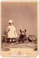******** Archduchess Marie Valerie of Austria, youngest daughter of Emperor Francis Joseph I. and Elizabetz, on the picture with the boarhound of her mother. Photography by Ludwig Angerer, Vienna. Around 1871.