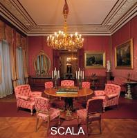 ******** Kaiservilla (Villa Imperiale) in Bad Ischl, Upper Austria, the red parlour, summer residence of emperor Franz Joseph I. and epress Elisabeth (Sisi).