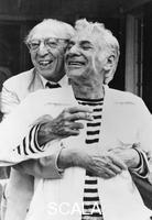 ******** Leonard Bernstein (1918-1990) and Aaron Copland (1900-1990), American composers, 1987.