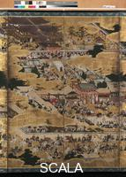Naizen, Kano (1570-1616) Houkoku Festival Picture Folding Screen (detail), 1606