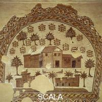 ******** Mosaic with three villas, trees, and grapevines, from Tabarka