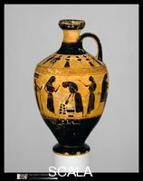 Amasis Painter (6th cent. BCE), attr. Terracotta lekythos (oil flask), c. 550-530 B.C.