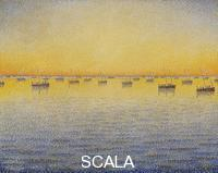 Signac, Paul (1863-1935) Setting Sun. Sardine Fishing. Adagio. Opus 221 from the Sea, the Boats, Concarneau Series (1891)