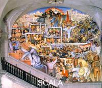 Rivera, Diego (1886-1957) Mexico Today and Tomorrow. 1935. (Exploited Mexican people; roots of social evil; repression of strikers; armed uprising in downtown Mexico City; Karl Marx pointing to the utopia). Mural,