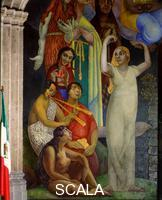 Rivera, Diego (1886-1957) Woman (Eve, shown seated as a mestizo woman) with Dance, Music, Song, Comedy. Detail of 'Creation', lower section of left wall. 1922-1923.
