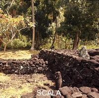 ******** The stone-walled enclosure of the Marae Attahooroo Tahiti. At this site  Captain  Cook  observed a ceremony of human sacrifice to implore the assistance of the god of war against the neighbouring island of Eimeo.