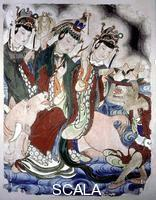 ******** Wall painting from a temple depicting the Zodiac of the Bull.The bull is also a symbol of spring as is the branch of a peach tree held by the central female figure.The peach here held in a basket by a monkey was considered a magic fruit that conferred immortality.