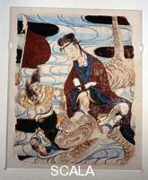 ******** Wall painting from a temple depicting the Zodiac of the Tiger.The figure seated on the tiger embodies bravery and the Confucian virtue of filial piety having protected his father by mastering the animal.