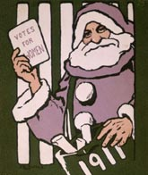 Code: H330857 - Artist: Dallas, Hilda (fl. 1912-1918) - Title: 'Votes for Women' Christmas card, 1911